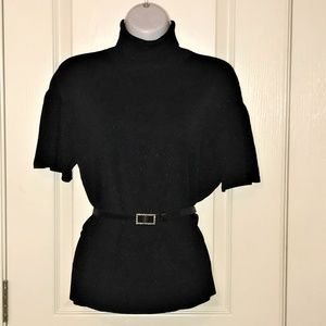 Worthington Black Lurex Short Sleeve Turtleneck